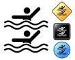 Synchronized swimming pictogram and signs