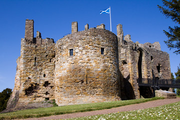Dirleton Castle and Saltire, East Lothian, Scotland