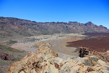 Martian desert landscape, national park El Teide, Tenerife.