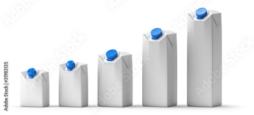 Leinwandbild Motiv Blank juice or milk package lineup isolated on white