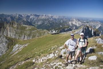 Couple Hiking Centennial Ridge,Kananaskis Country,AB,Canada