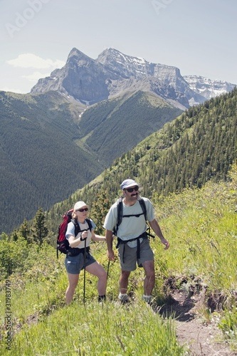 Couple Hiking Centennial Ridge,Kananaskis Country,AB,Canada