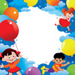 Children flying on balloons. Place for your text.