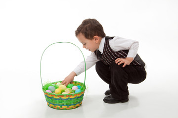 Boy Looking in Easter Basket
