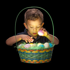 Boy Looking in Glowing Easter Basket