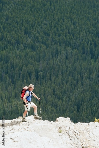 Man Hiking On A Ridge Overlooking A Forest
