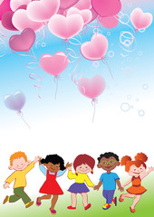 Children with balloons in the form of heart.