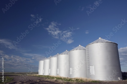 Row Of Metal Silos