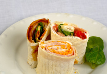 Fresh veggie wraps on a plate