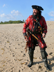 Full Length Costumed Pirate on the Beach