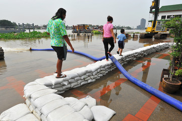 Sand bags help keep flood