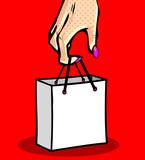 Pop art comic female hand holding paper shopping bag on color ba