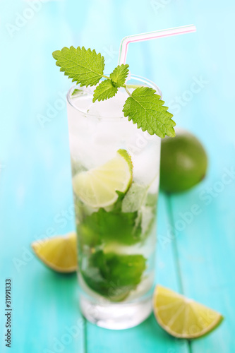 Fresh mojito with mint close up