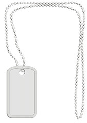 Vector military identity plate with  metal chain