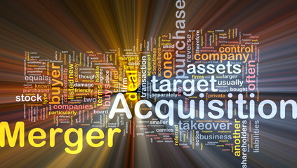 Merger acquisition background concept glowing