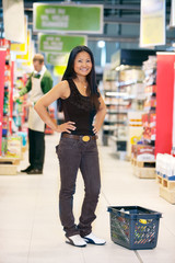 Portrait of Asian Woman in Grocery Store
