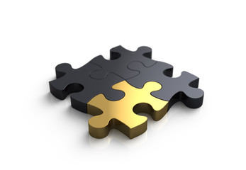 4 Puzzleteile gold
