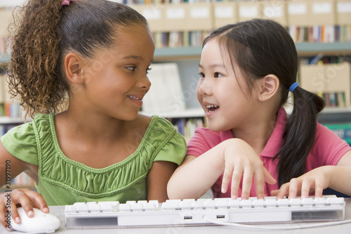 Kindergarten children using computer