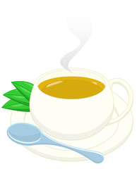 tea with teaspoon and leaves. clipping path included