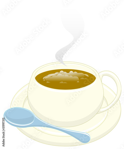 cappuccino with teaspoon. clipping path included