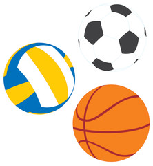 Football, basketball and volleyball
