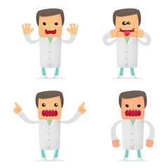 set of funny cartoon doctor