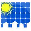 pannelli solari con case e sole