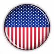 Patriotic USA button over white background