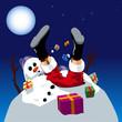 Santa Claus fallen on snowman