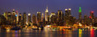 New York City midtown skyline panorama at night, USA