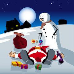 Santa drunken in the snow