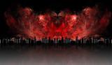 Futuristic metropolis engulfed in flames poster