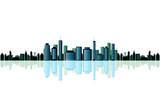 Metropolis cityscape on white poster