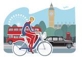 Fototapety girl cycling in London