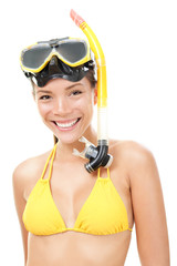 Person with snorkeling mask for beach holidays