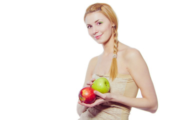 woman with green and red apples isolated on white