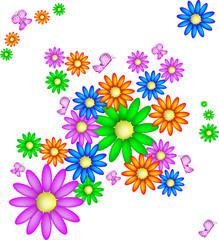 Sfondo con margherite e farfalle, vettoriale