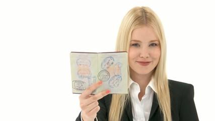 Geschäftsfrau mit Reisepass