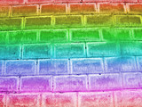 abstract damaged rainbow brick wall, retro construction details