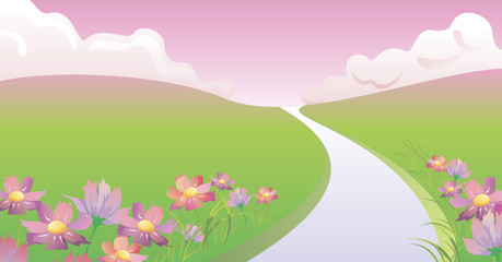 spring landscape in vector