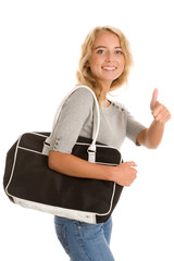 Woman with bag giving thumbs up