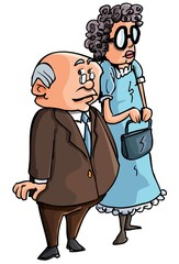 Cartoon of old couple