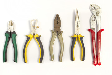 Set of different used pliers