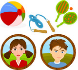 Set of a children's games accessories and portraits