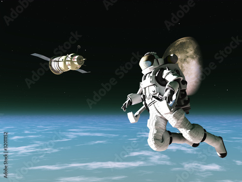 Astronaut and satellite