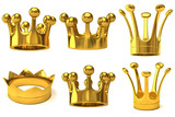 Set of golden crowns
