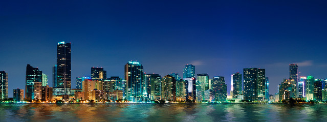 Miami skyline panorama at night