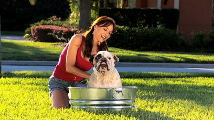 Brunette Female Bathing Her Pet Bulldog