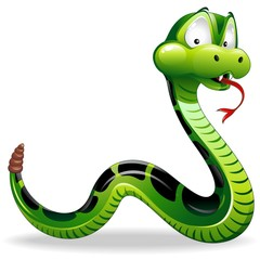 Serpente Cartoon-Green Snake Cartoon-Vector