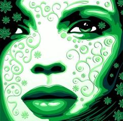 Viso Donna Verde Natura-Woman's Face Green Nature-Vector